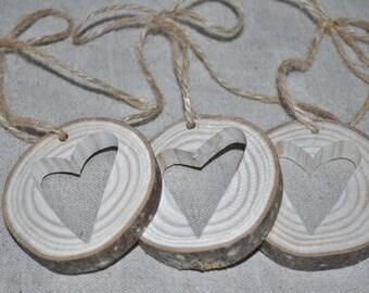3 Rondelles en bois - coeur