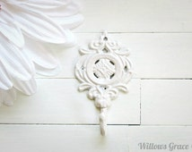 Shabby Chic Cast Iron Wall Hook / White Home Decor / Metal Hook / French Country Decor / Ornate / Cottage Chic