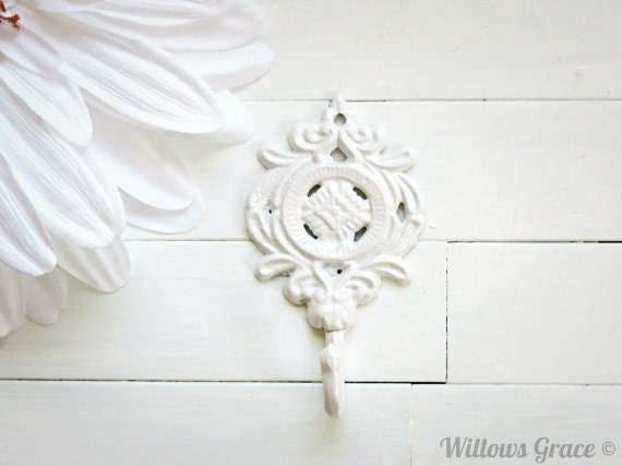 Shabby chic wall decor etsy : Items similar to shabby chic cast iron wall hook white