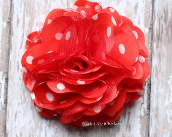 "Set of TWO, 3"" Satin Mesh Flower, Red with White Dots, Satin Tulle, Tulle Flower, Satin Flower, Fluffy Flower, Tulle Mesh, DIY"