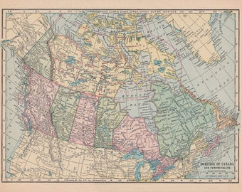 Fabric Yardage - Vintage Map of Canada - Sewing and crafting supplies