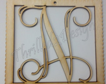 6 inch Vine Connected Ornament Laser Cut Wooden Monograms - Single or Triple Letter - Christmas, Gift