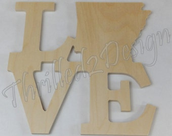 Wooden Stacked LOVE Arkansas State Shape Unpainted - Customize