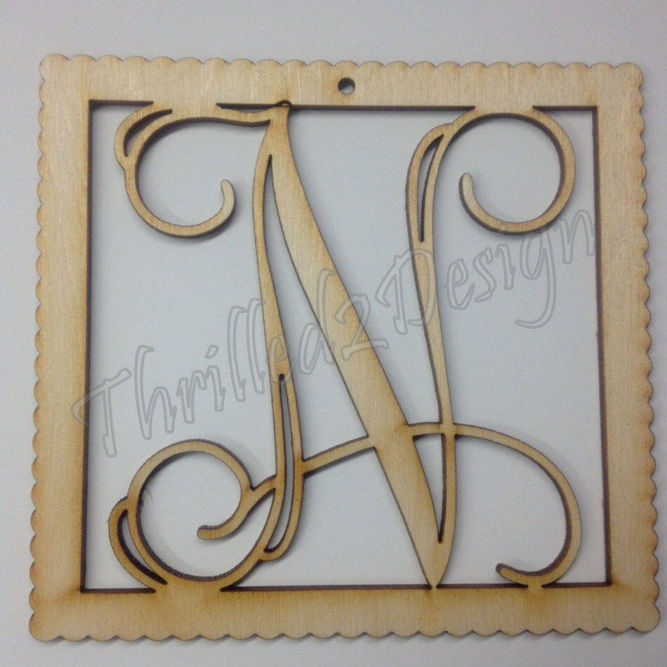 Vine Connected Ornament Laser Cut Wooden Monograms - Single or Triple Letter - Christmas, Gift