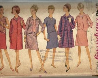 Simplicity 6748  Misses Coat Dress, Top  Skirt ,Jacket pattern  Size 16 1/2  UNCUT