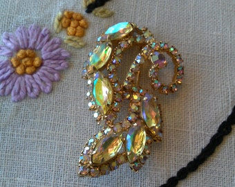 Graceful Swirls Aurora Borealis Brooch, Glimmers from the 1960's