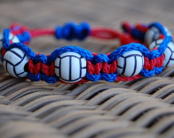 Red and Royal Blue Trendy Volleyball bracelet  - More cord colors and sports theme options available