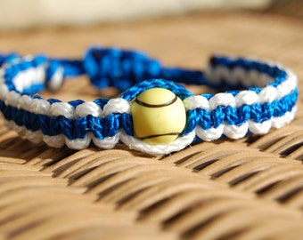 Royal Blue and White Bracelet with Tennis Bead   - More cord colors and sports theme options available