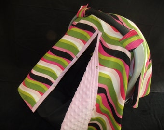 Carseat Canopy Minky Color Waves Blanket Cover New Style with Slit Color Options Available Ready to Ship