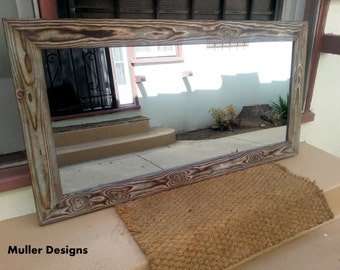 wood mirror sky blue 50x24
