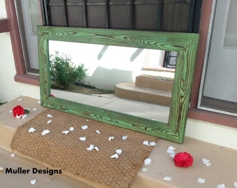 Wood mirror green bronze 40x22.5