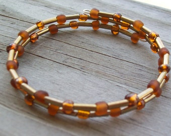 Brown and Gold Beaded Memory Wire Bracelet Beaded Wire Wrapped Bracelet Bangle Bracelet