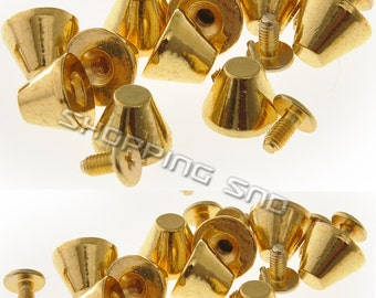 Wholesale Gold Spikes And Studs Metal Musroom 8X11MM Screw back FREE SHIPPING Worldwides