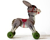 Lovely VINTAGE FRENCH wooden DONKEY Pull Toy 1950 - uneviedeboheme