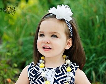 White headband, White and navy Headband, white Flower girl headband, white flower headband, navy headband, white clip, infant headband