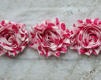 SALE!!!  1 Yard Hot Pink Heart Shabby Chiffon Flower Trim - Flower Trim for Headbands and DIY supplies