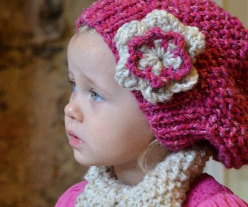 Knitted Hat Patterns For Girls : KNITTING PATTERNS girls hat & scarf by jessicarosehandknits