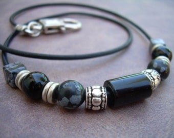 Leather Necklace, Gemstone Necklace, Snowflake Obsidian, Black Onyx, Mens Necklace, Womens Necklace,