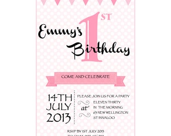 Pink Polkadot Birthday Party Invitation