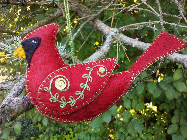Wool Felt Cardinal Ornament/ Northern by PatriciaWelchDesigns