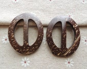 6Pcs 50x40mm  oval  Natural  Coconut Shell Buckle   (W626)