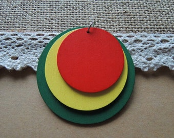 Two sets 40-50-60mm green-yellow-red round  wood circle earring/pendant/charm