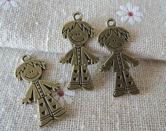 12pcs 29x15mm Antique Bronze cute  boy  charm( A141)