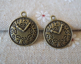 15pcs 18mm  Antique Bronze clock charm( A161)