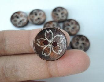16Pcs  18mm Brown   Wood flower button 2 holes( W720)