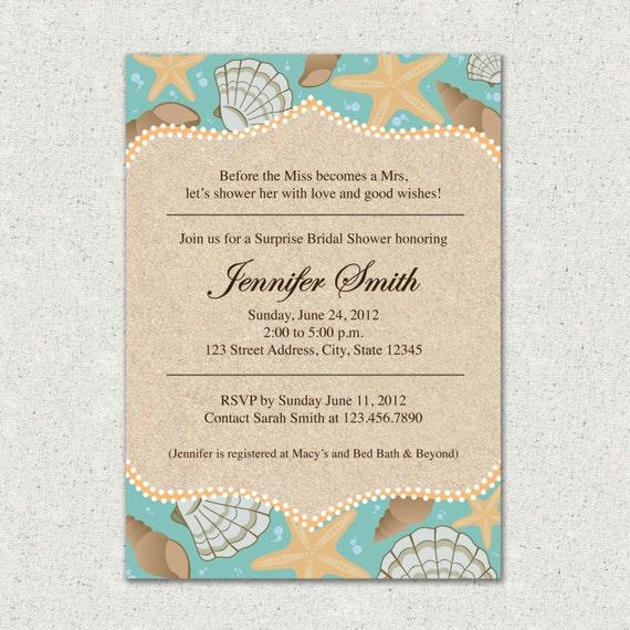 Invitation Beach Themed Bridal Shower Invite By