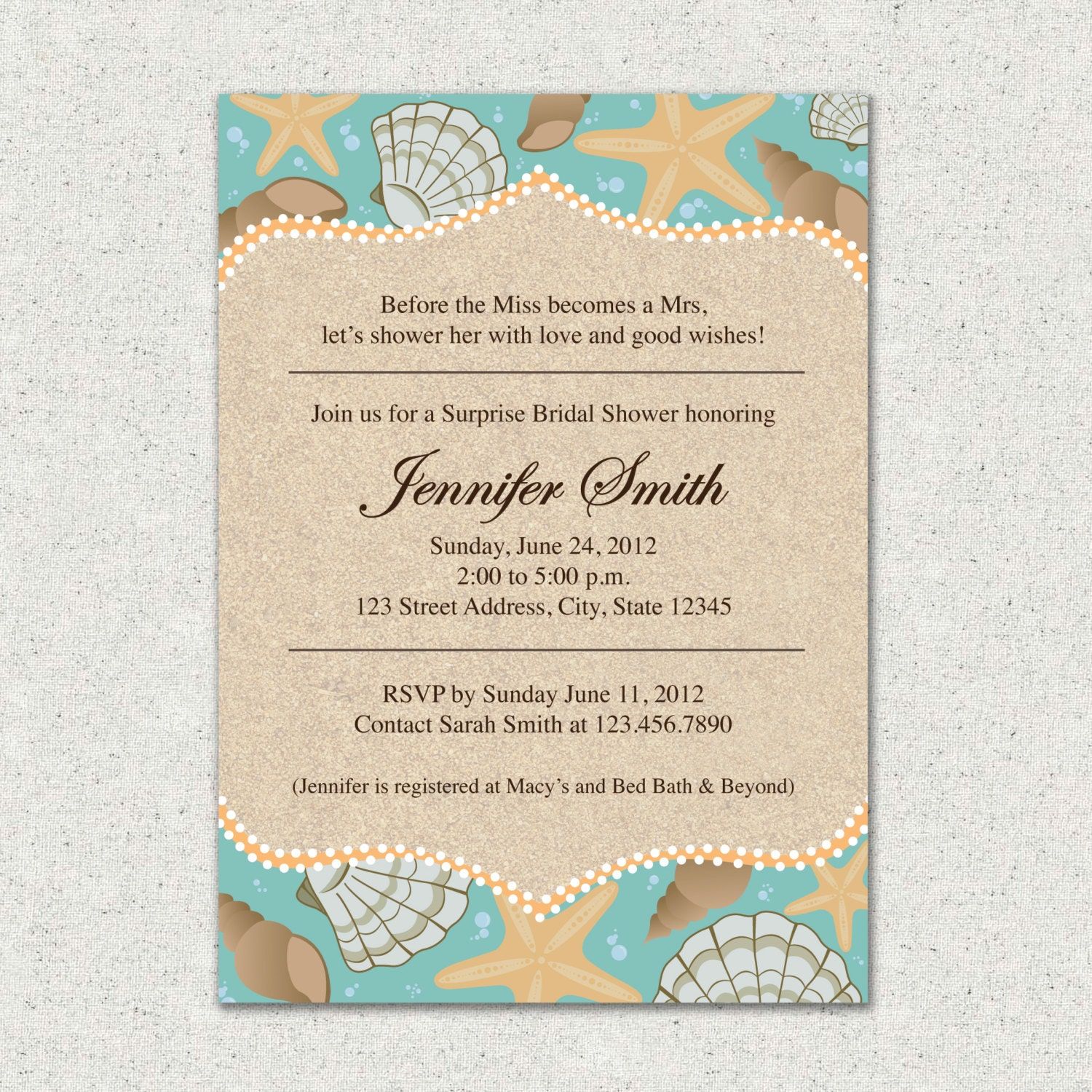 Invitation Beach Themed Bridal Shower Invite By ChelseyMayDesigns