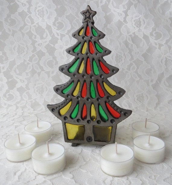 Items similar to vintage stained glass christmas tree with