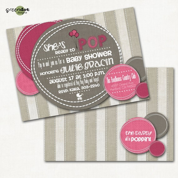 sale pop baby shower invitation ready to pop balloons bubbles