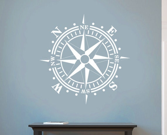 Compass Rose Removable Wall Art Vinyl Dinning Room Decal Nautical Theme Living Room Removable up to 36x36 inches