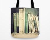 Tote Bag, Canvas tote, large tote, market tote, cream bag, book bag, green bag, emerald bag, vintage bag, vintage books, hipster, geek