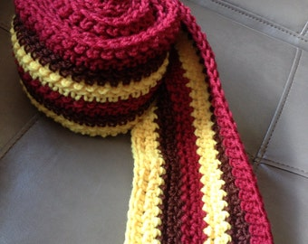 Brown yellow and maroon scarf