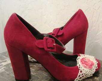 Never Worn Upcycled Crimson Spiegel Red Suede Heels with Strap Embellished with Antique Vintage Crocheted Lace and Rosettes / Pumps Shoes