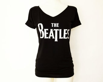 Tshirt with sleeve tabs, unique, tunic for women rock shirt with v neck The Beatles
