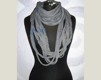 Infinity multi strand braided jersey scarf, circle women men necklace scarf.