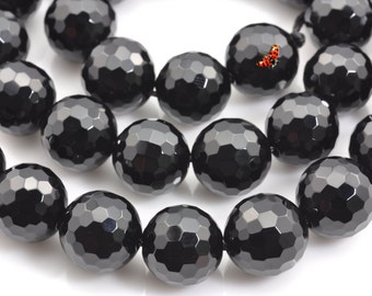 Black Onyx  faceted Round  beads 12mm,33 pcs