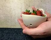 Ceramic Berry Bowl | Handmade | Thumb loop | Clear glaze | Strainer | Colander | Pottery | Stoneware | Fruit bowl