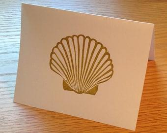 Gold shell linocut block print card