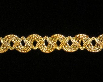 "608 Metallic gimp trim - ""Small Zig"" antique-gold - 3/8"" (9mm)"