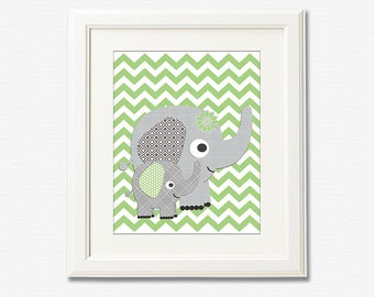 Grey and green chevron nursery art print - 8x10 - Elephant, Children wall art, Baby Room Decor, nursery art, zigzag -  UNFRAMED