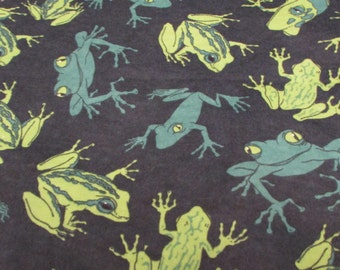 Flannel Fabric - Frogs Blue - 1 yard - 100% Cotton Flannel