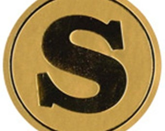 Round stickers 'S', set of 20, gold, 4 cm, label, sticker, tag