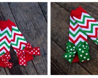 Christmas Chevron leg warmers, Christmas leg warmers, red and green chevron, newborn leg warmers, baby leg warmers, toddler leg warmer
