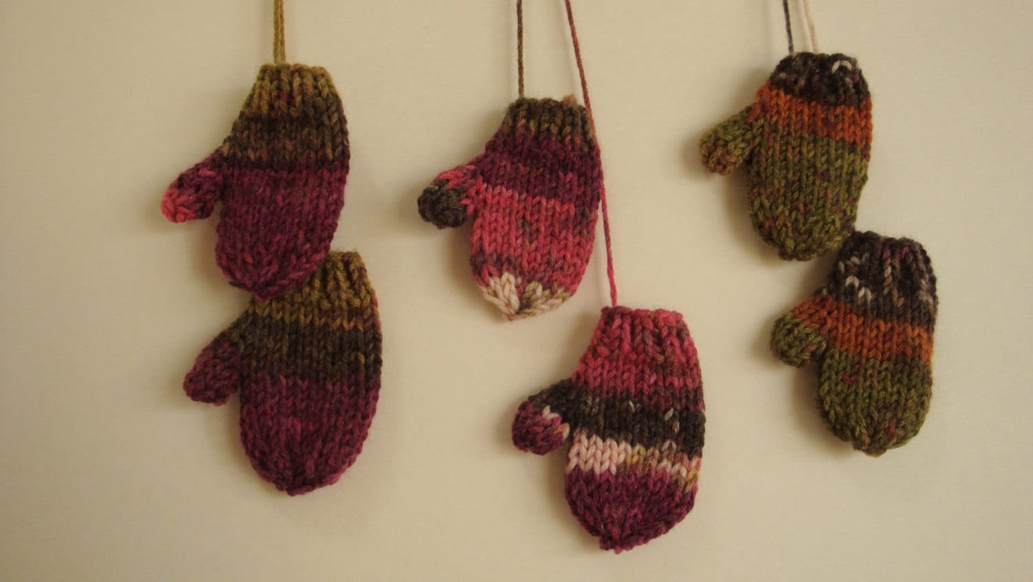 Handmade Knit Miniature Mitten Ornaments or Package Toppers