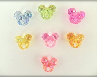 Disney Mickey Mouse Beads 16mm, Acrylic, 8 pcs, Transparent beads, Pretty faceted beads, Unusual beads