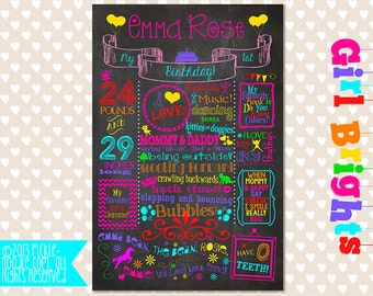 Chalkboard Poster / First Birthday  / DIGITAL / Printable / baby GIRL 1st / Baby's Birthday / Girl Brights / 2nd / 5th / Plus FREE Web File